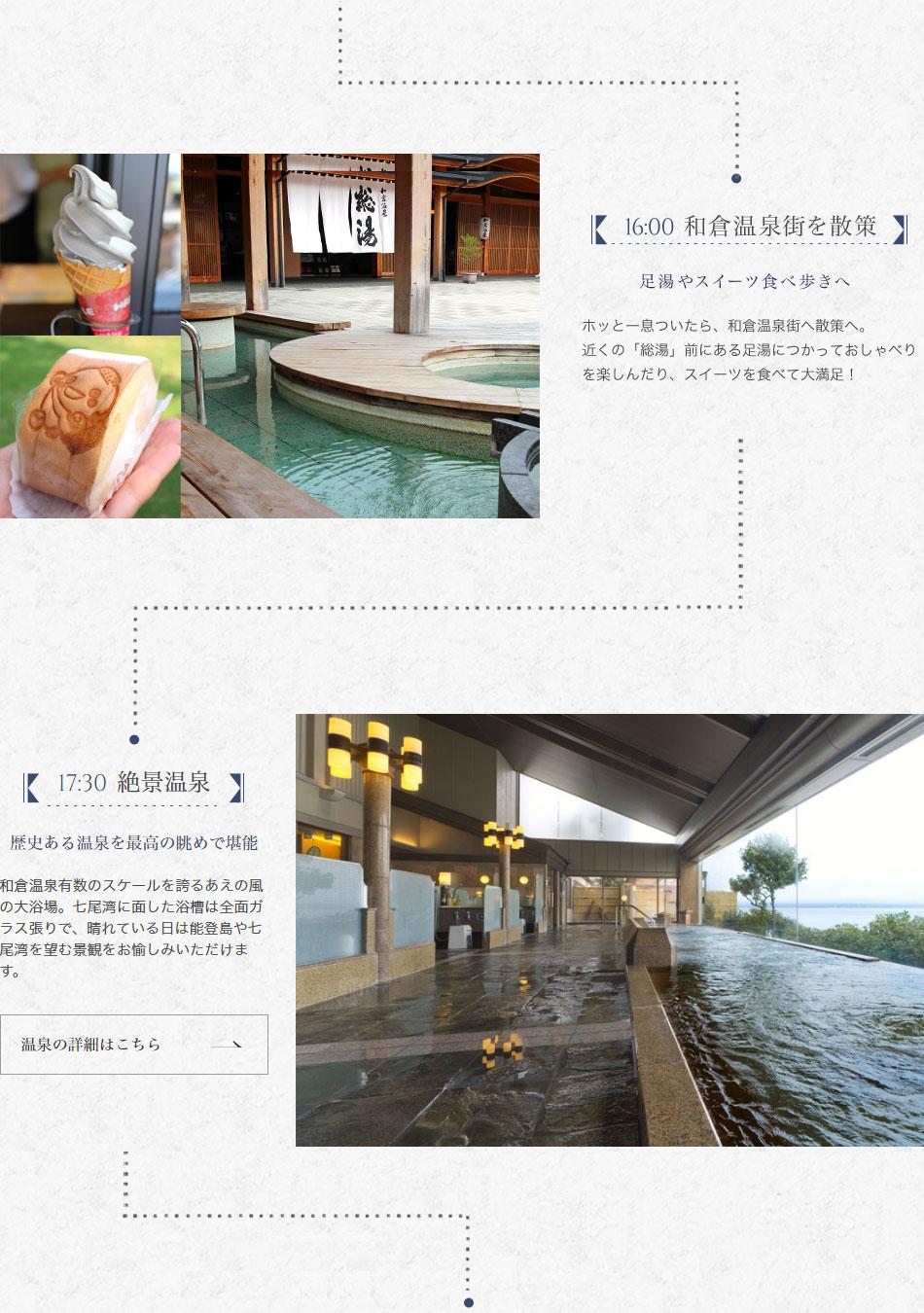 16:00 和倉温泉街を散策 17:30 絶景温泉